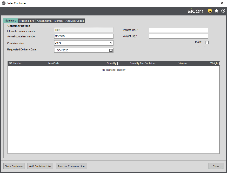 Sicon Distribution Help and User Guide - Image 4.1.1