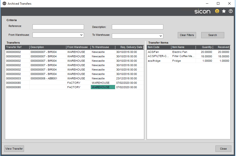 Sicon Distribution Help and User Guide - Image 5.10.2