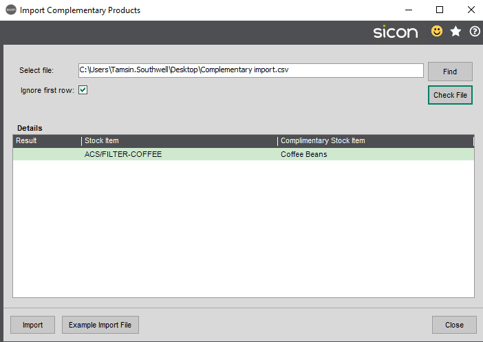 Sicon Distribution Help and User Guide - Image 5.7.2