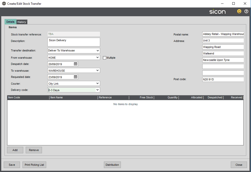 Sicon Distribution Help and User Guide - Image 5.9.3