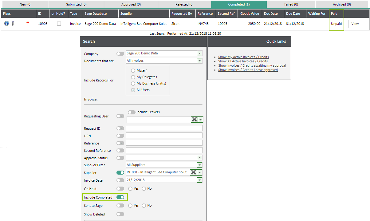 Sicon WAP Invoice Module Help and User Guide - Invoice Image 11 - Section 4.1