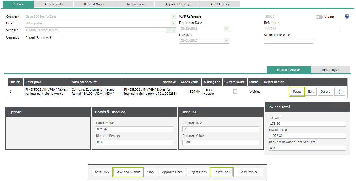 Sicon WAP Invoice Help and User Guide - Invoice Image 28 - Section 6.1