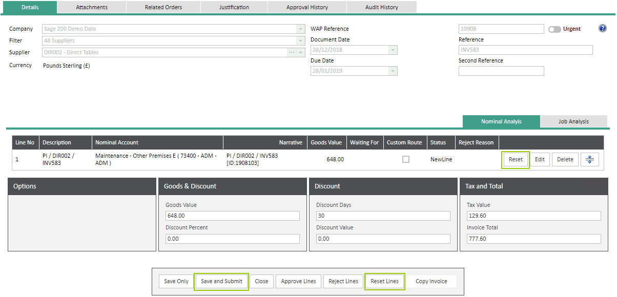Sicon WAP Invoice Module Help and User Guide - Invoice Image 31 - Section 6.2
