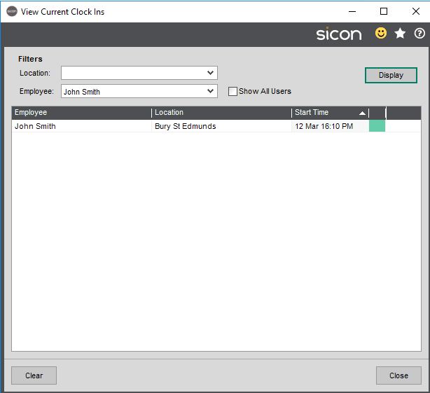 Sicon SFDC Help and User Guide - ClockIns