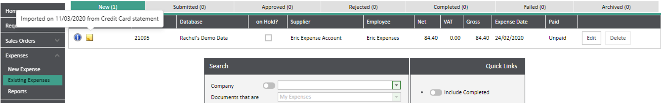 Sicon WAP Expenses Help and User Guide - Expenses HUG Section 12.5 Image 1
