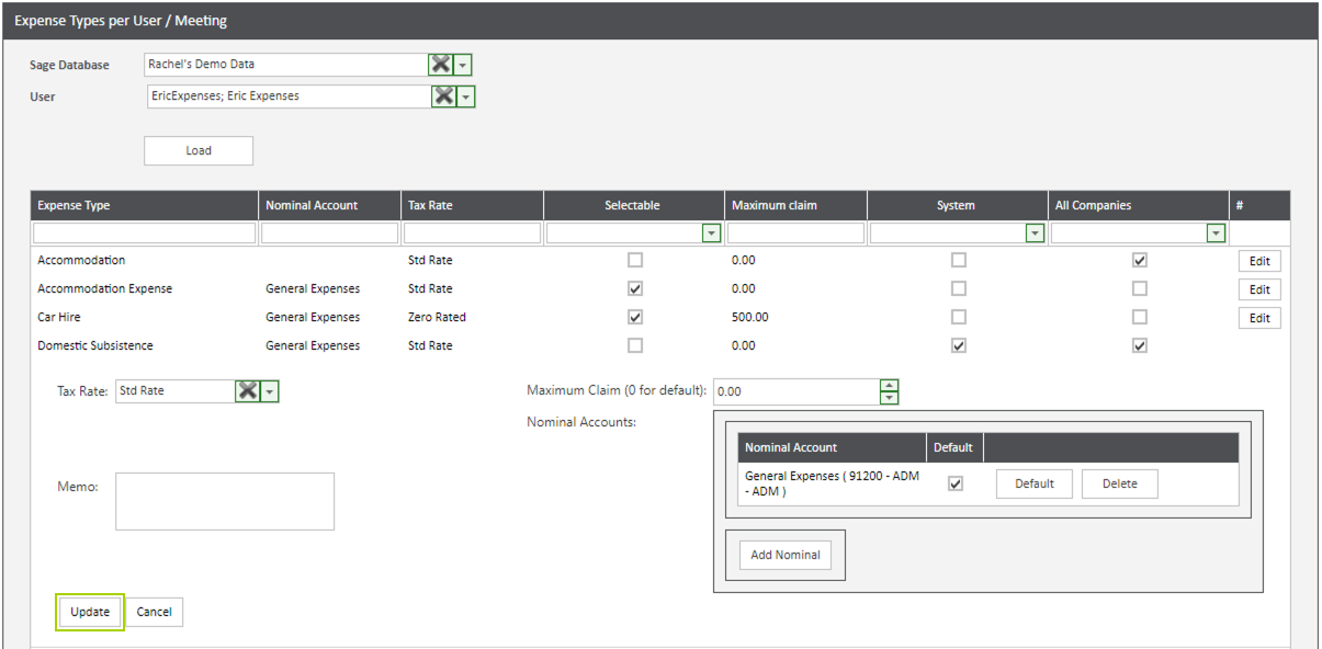 Sicon WAP Expenses Help and User Guide -Expenses HUG Section 13.3 Image 2