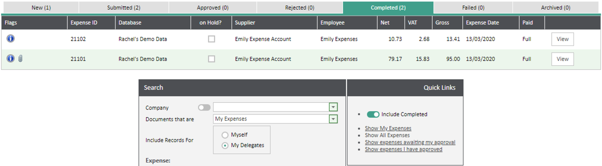 Sicon WAP Expenses Help and User Guide -Expenses HUG Section 18.4 Image 1