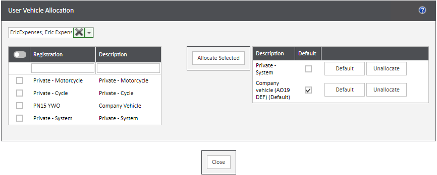Sicon WAP Expenses Help and User Guide - Expenses HUG Section 4.3 Image 1