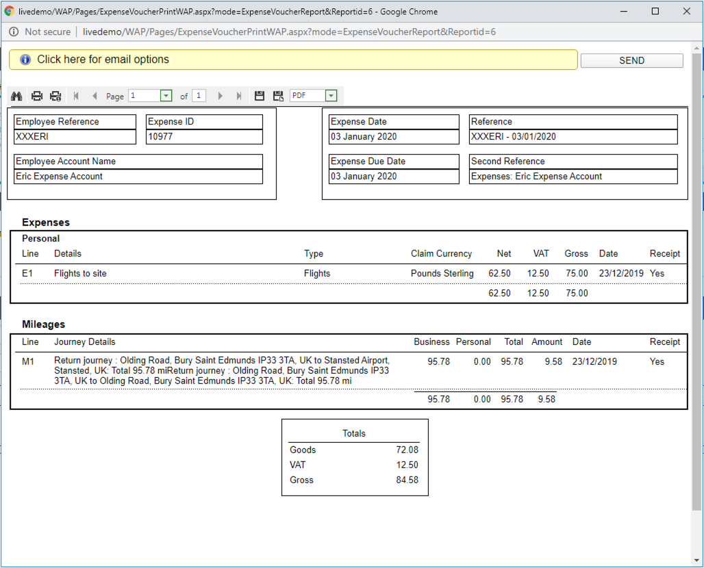 Sicon WAP Expenses Help and User Guide - Expenses HUG Section 6.4 Image 1