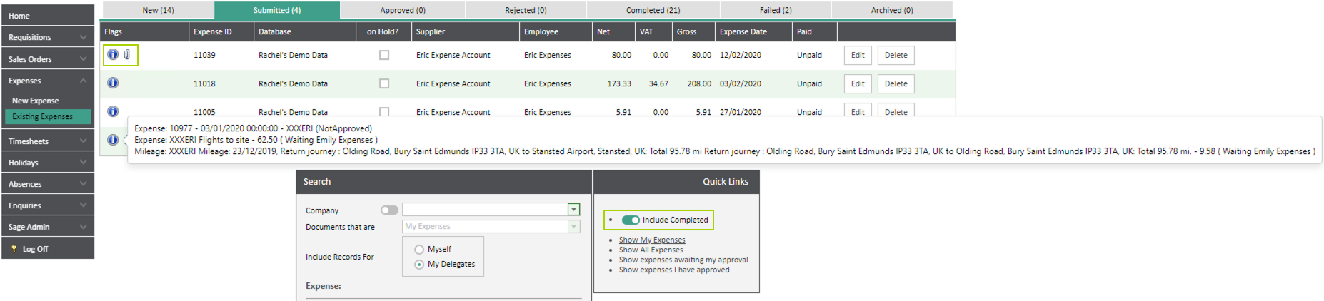 Sicon WAP Expenses Help and User Guide - Expenses HUG Section 6.5 Image 1