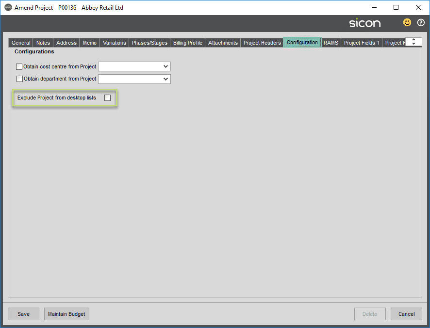 Sicon Projects Help and User Guide - SS3.1.9-1