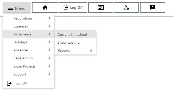 Sicon WAP Timesheets Help and User Guide - 4 - Timesheet Navigation