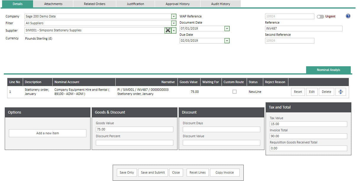 Sicon WAP Invoice Help and User Guide - Invoice HUG Section 13 Image 4