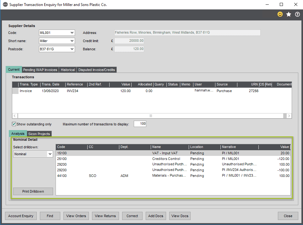 Sicon WAP Invoice Help and User Guide - Invoice HUG Section 2.2 Image 2