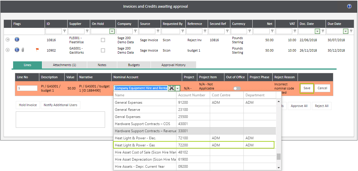 Sicon WAP Invoice Help and User Guide - Invoice HUG Section 4.2 Image 3