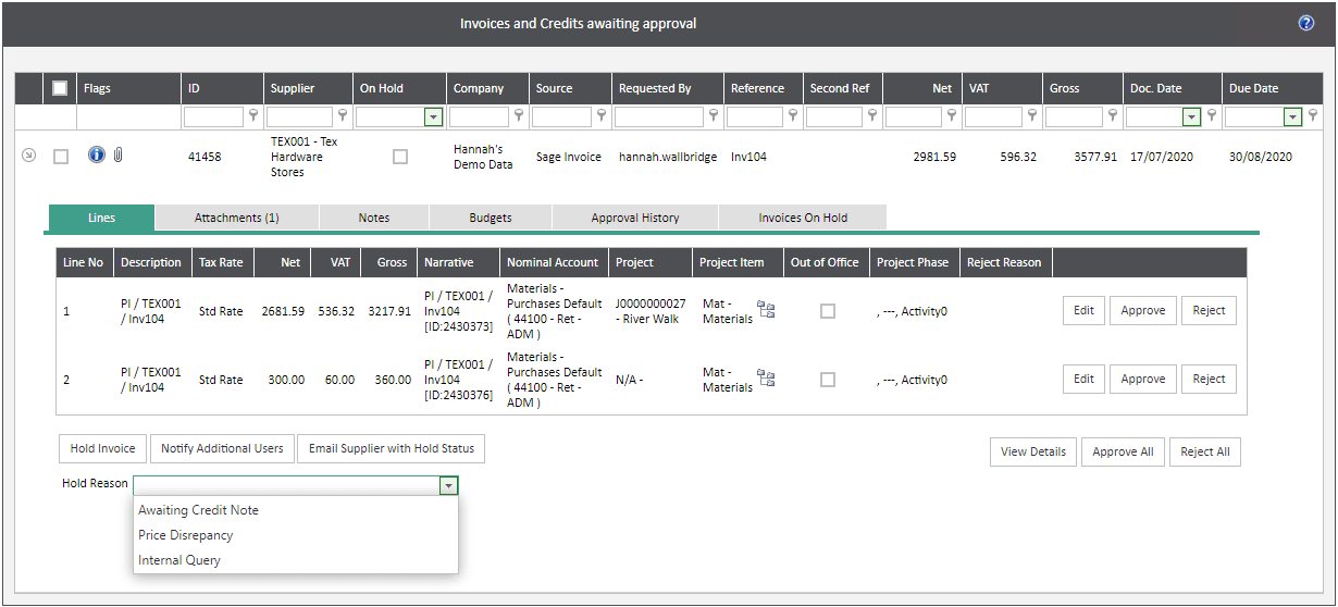 Sicon WAP Invoice Help and User Guide - Invoice HUG Section 4.3 Image 4