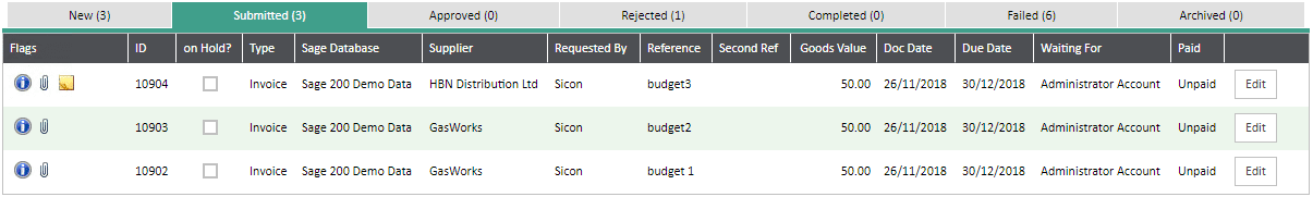 Sicon WAP Invoice Help and User Guide - Invoice HUG Section 5 Image 1