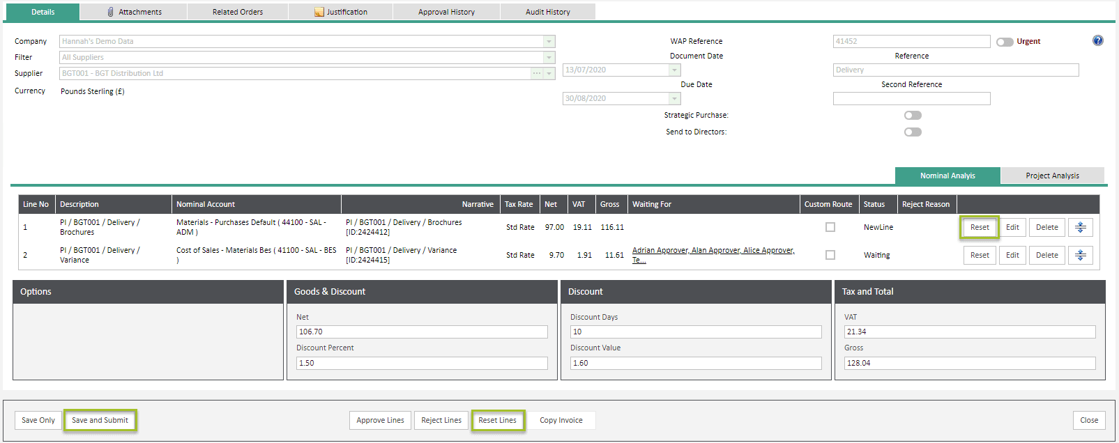 Sicon WAP Invoice Help and User Guide - Invoice HUG Section 6.2 Image 3