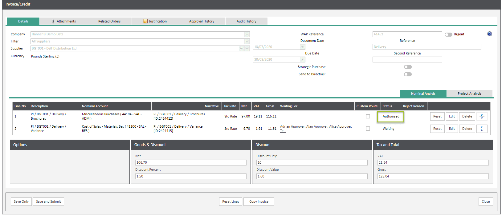 Sicon WAP Invoice Help and User Guide - Invoice HUG Section 6.2 Image 6