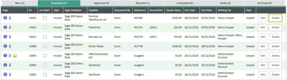 Sicon WAP Invoice Help and User Guide - Invoice HUG Section 6.5 Image 1