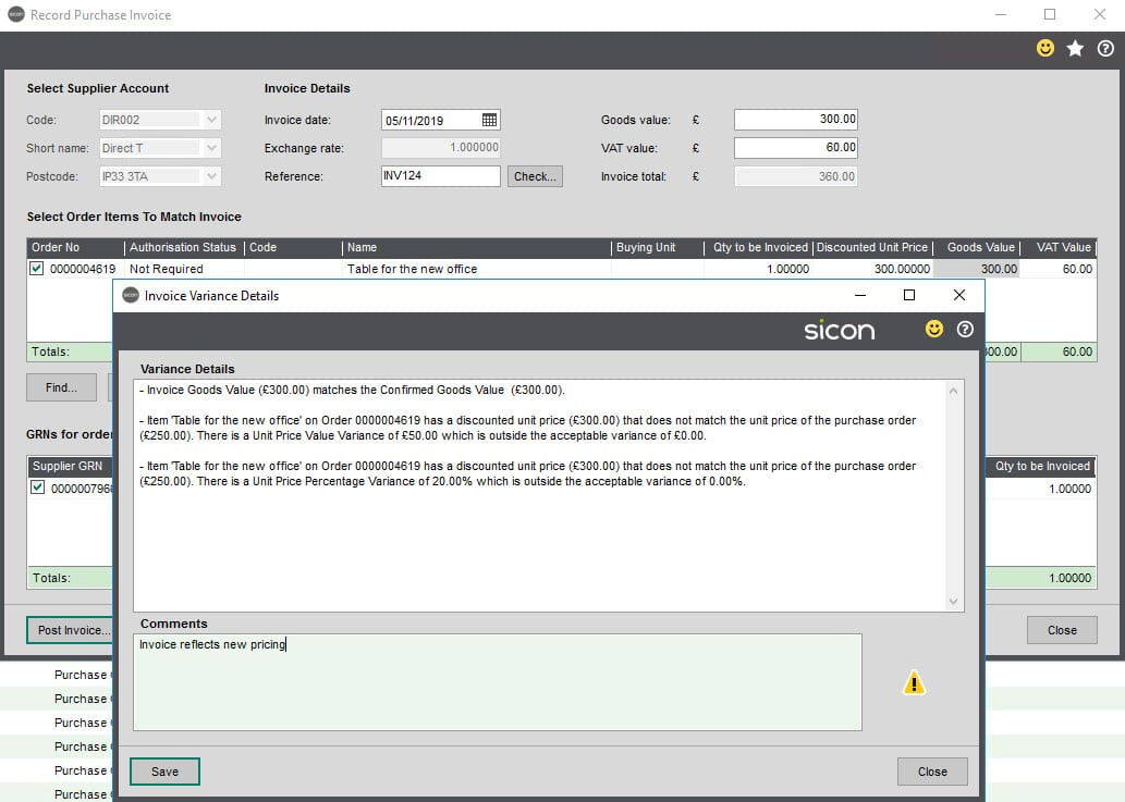 Sicon WAP Invoice Help and User Guide - Invoice HUG Section 9 Image 1