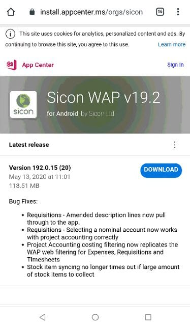 Sicon WAP App Help and User Guide - WAP App HUG Image Section 3.2 Image 2