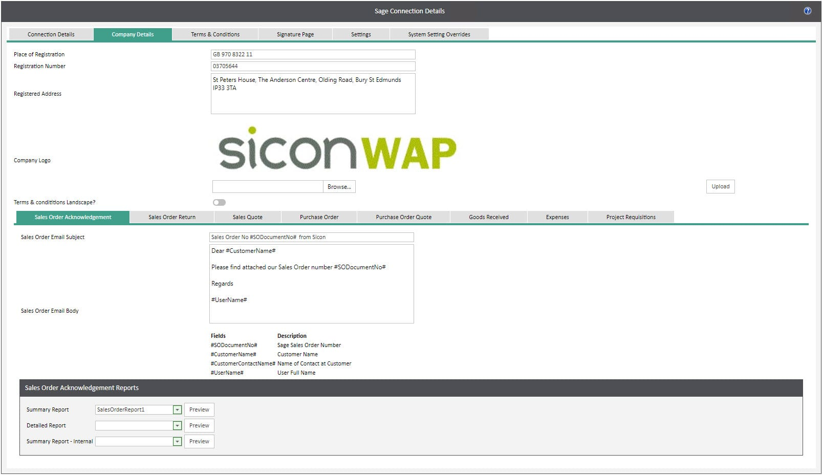 Sicon WAP System Settings Help and User Guide - WAP System HUG Section 29.2 Image 1