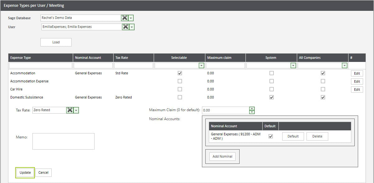 Sicon WAP Expenses Help and User Guide - Expenses HUG Section 13.4 Image 2