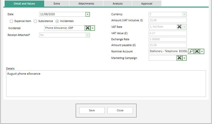 Sicon WAP Expenses Help and User Guide - Expenses HUG Section 14.4 Image 1
