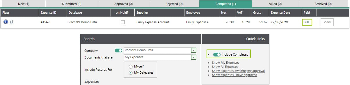 Sicon WAP Expenses Help and User Guide - Expenses HUG Section 17.4 Image 1