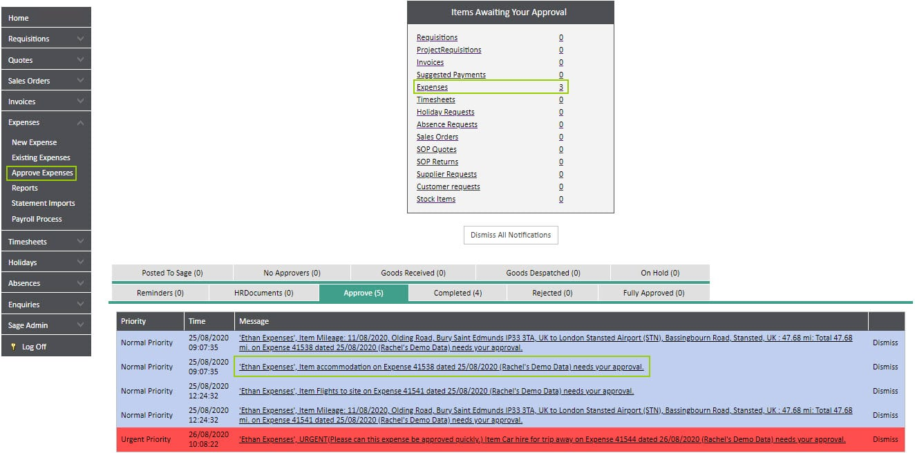 Sicon WAP Expenses Help and User Guide - Expenses HUG Section 8 Image 1