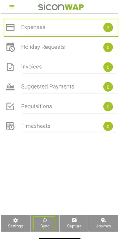 Sicon WAP Expenses Help and User Guide - Expenses HUG Section 8.1 Image 1