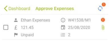 Sicon WAP Expenses Help and User Guide - Expenses HUG Section 8.1 Image 5