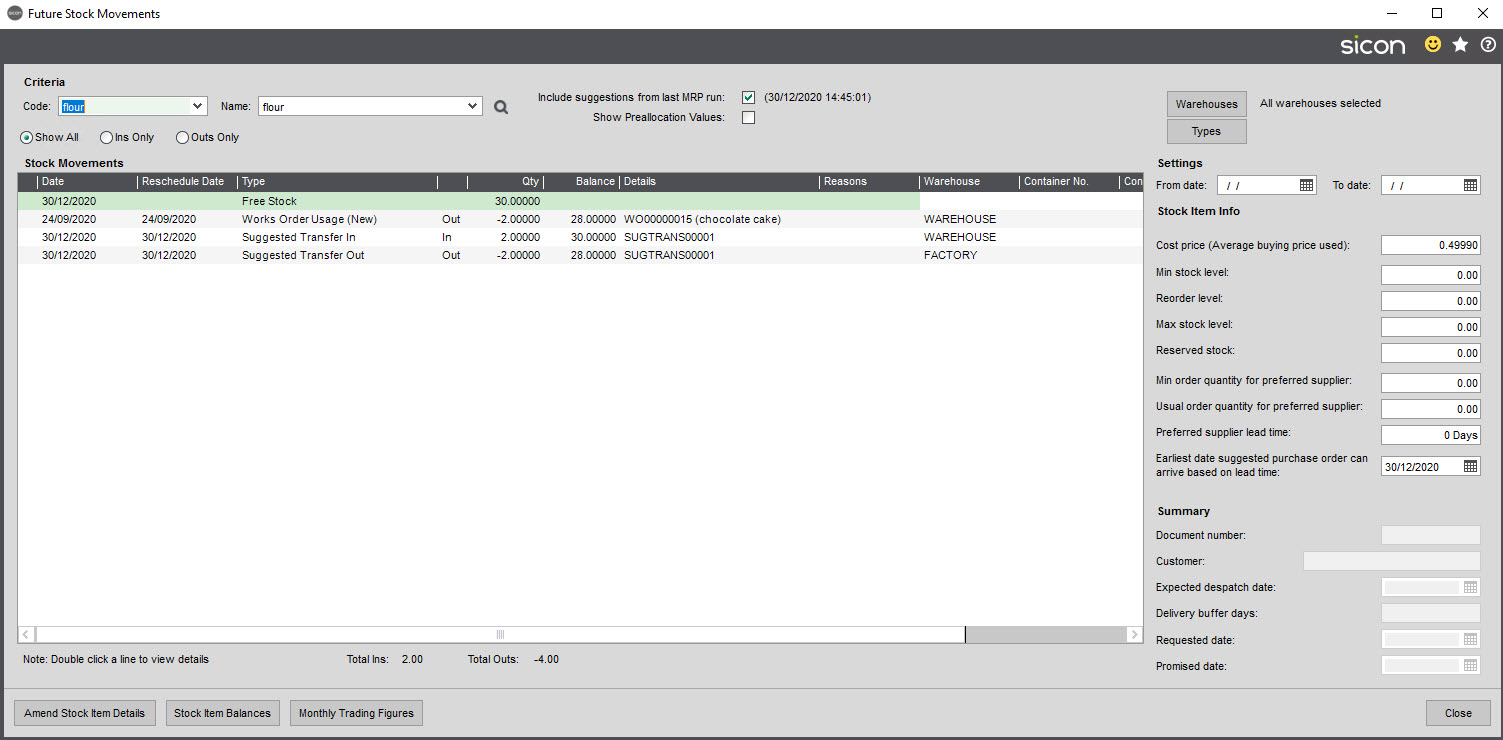 Sicon Material & Resource Planning Help and User Guide - Pic5a