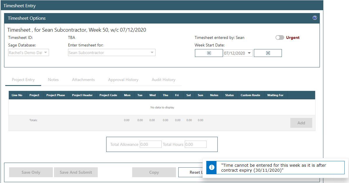 WAP Timesheets help and user guide - Timesheet HUG Section 17.4 Image 4