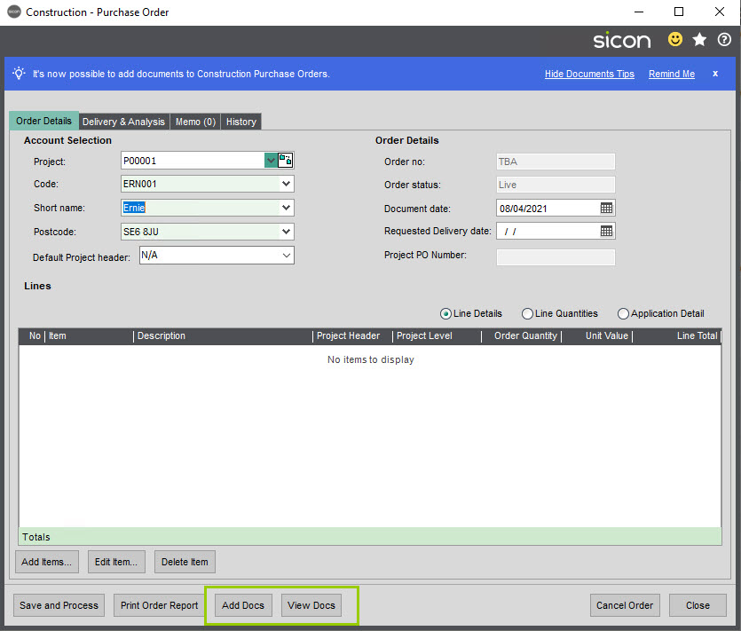 Sicon Documents Help and User Guide - 14 Construction Purchase Orders