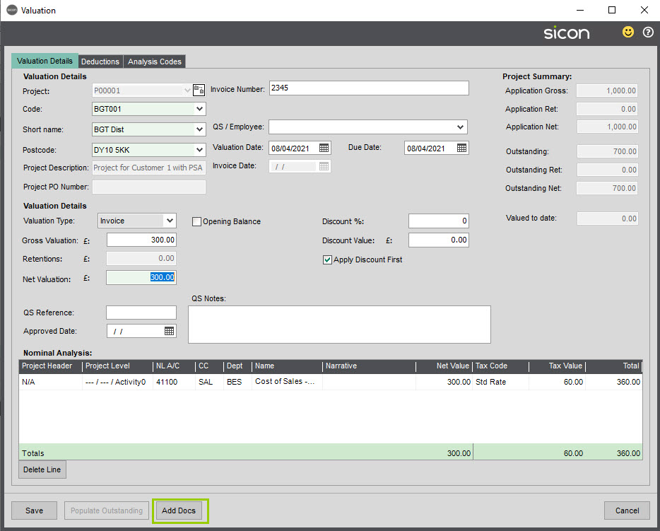 Sicon Documents Help and User Guide - 14 Supplier Valuations