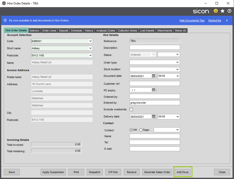 Sicon Documents Help and User Guide - 18 Hire Order