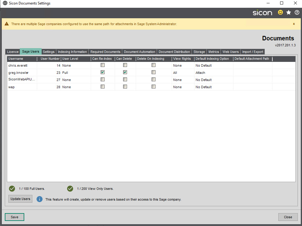 Sicon Documents Help and User Guide - 4.2 Sage Users tab
