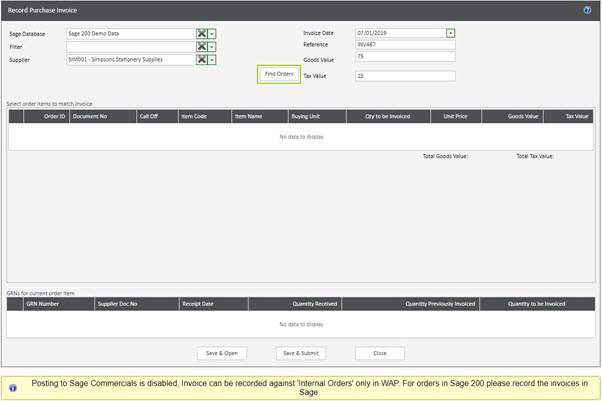 WAP Invoice Module Help and User Guide - Invoice HUG Section 14 Image 1