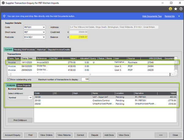 WAP Invoice Module Help and User Guide - Invoice HUG Section 15.1 Image 3