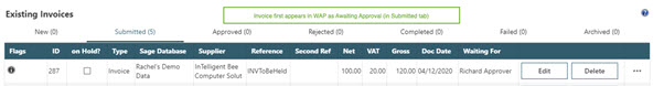 WAP Invoice Module Help and User Guide - Invoice HUG Section 17.3 Image 11