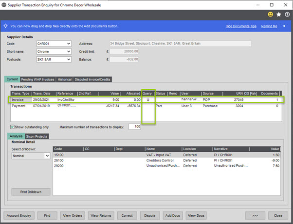 WAP Invoice Module Help and User Guide - Invoice HUG Section 18.1 Image 1