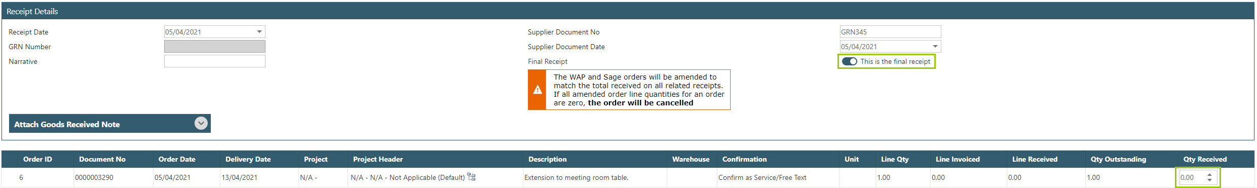 Sicon WAP Purchase Requisitions Help and User Guide - Requisition HUG Section 10.5 Image 1