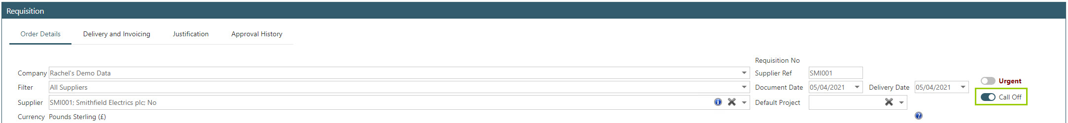 Sicon WAP Purchase Requisitions Help and User Guide - Requisition HUG Section 11.3 Image 1