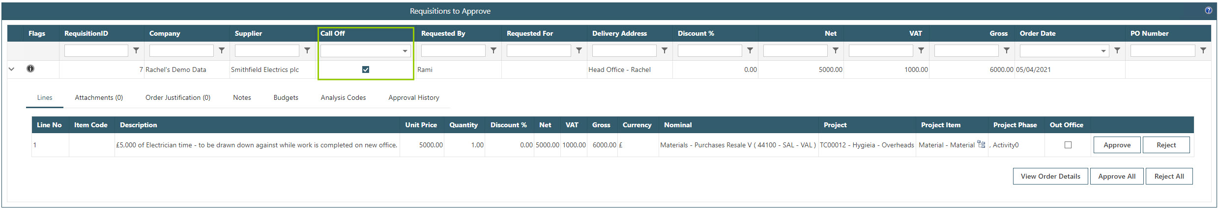 Sicon WAP Purchase Requisitions Help and User Guide - Requisition HUG Section 11.4 Image 1