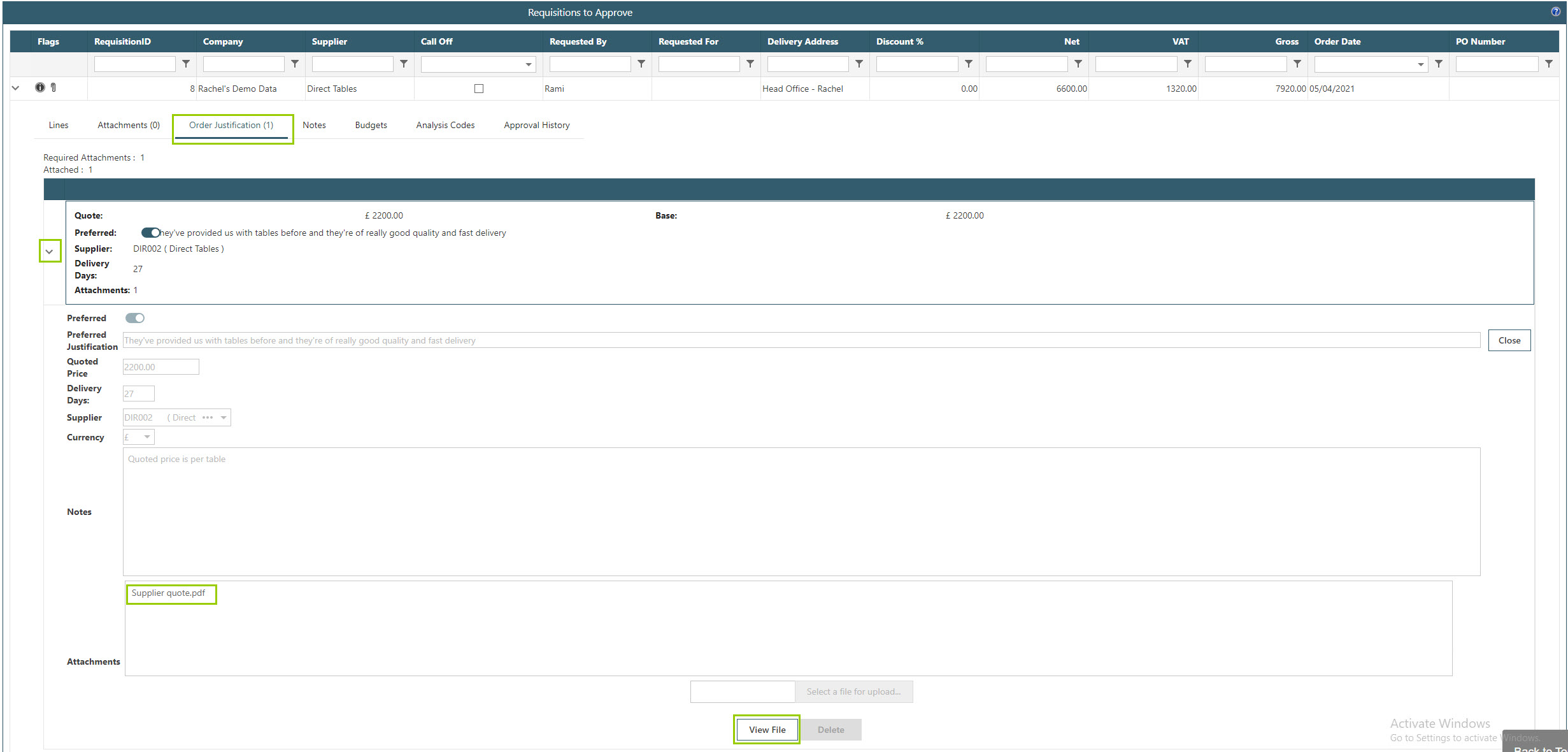 Sicon WAP Purchase Requisitions Help and User Guide - Requisition HUG Section 12.4 Image 1