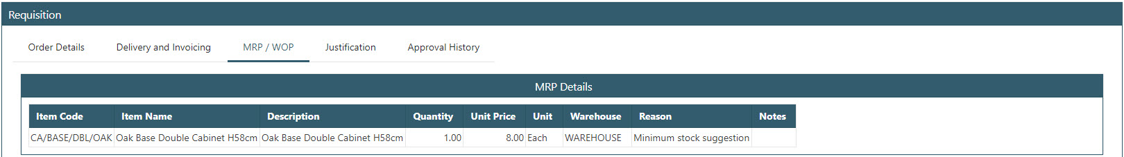 Sicon WAP Purchase Requisitions Help and User Guide - Requisition HUG Section 19.5 Image 2