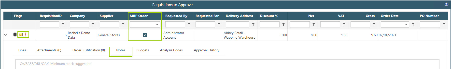 Sicon WAP Purchase Requisitions Help and User Guide - Requisition HUG Section 19.5 Image 3