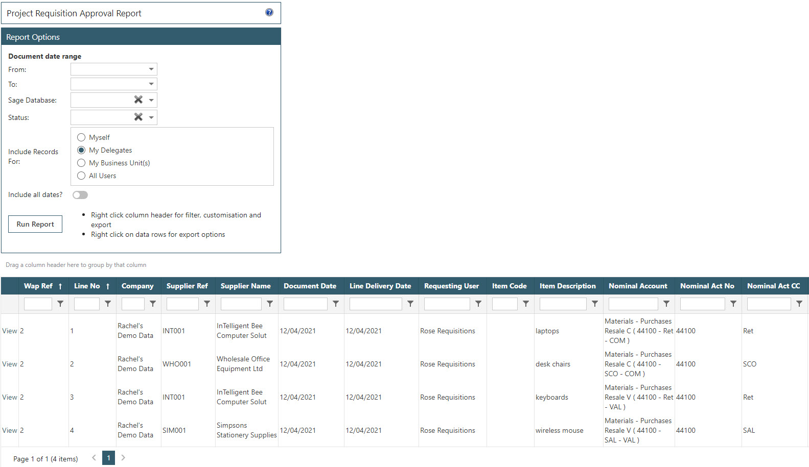Sicon WAP Purchase Requisitions Help and User Guide - Requisition HUG Section 23.16 Image 2